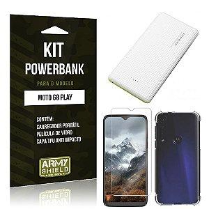 Kit Carregador Portátil 10K Tipo C Moto G8 Play + Capa Anti Impacto + Película Vidro - Armyshield