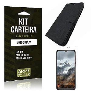 Kit Capinha Carteira Moto G8 Play Capinha Carteira + Película de Vidro - Armyshield