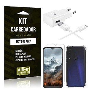 Kit Carregador Tipo C Moto G8 Play + Capinha Anti Impacto + Película de Vidro - Armyshield