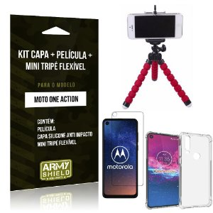 Kit Mini Tripé Flexível Moto One Action Tripé + Capinha Anti Impacto + Película Vidro - Armyshield