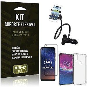 Kit Suporte Flexível Moto One Action Suporte + Capinha Anti Impacto + Película de Vidro - Armyshield