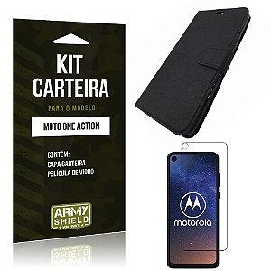 Kit Capinha Carteira Moto One Action Capinha Carteira + Película de Vidro - Armyshield