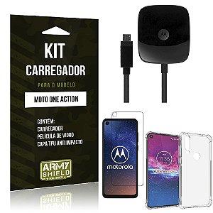 Kit Carregador Tipo C Moto One Action Carregador + Capa Anti Impacto + Película Vidro - Armyshield