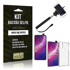 Kit Bastão de Selfie Moto One Hyper Bastão + Capinha Anti Impacto + Película de Vidro - Armyshield