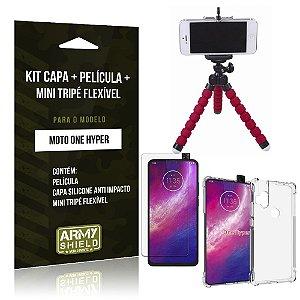 Kit Mini Tripé Flexível Moto One Hyper Tripé + Capinha Anti Impacto + Película de Vidro - Armyshield
