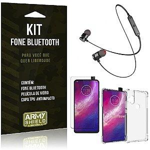 Kit Fone Bluetooth Sport 901 Moto One Hyper Fone + Capa Anti Impacto + Película Vidro - Armyshield