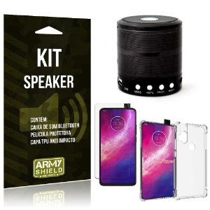 Kit Mini Speaker Moto One Hyper Caixa de Som Bluetooth + Capa Anti Impacto + Película - Armyshield