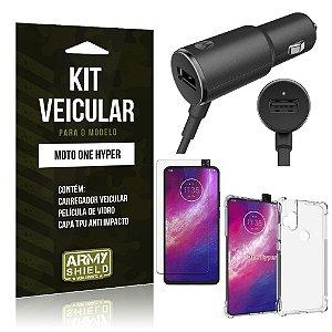 Kit Carregador Veicular Tipo C Moto One Hyper + Capa Anti Impacto + Película Vidro - Armyshield
