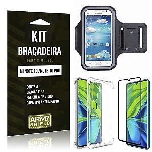 Kit Braçadeira Mi Note 10 Braçadeira + Capinha Anti Impacto + Película de Vidro - Armyshield
