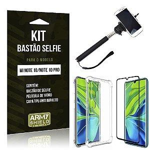 Kit Bastão de Selfie Mi Note 10 Bastão + Capinha Anti Impacto + Película de Vidro - Armyshield