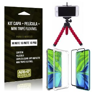 Kit Mini Tripé Flexível Mi Note 10 Tripé + Capinha Anti Impacto + Película de Vidro - Armyshield