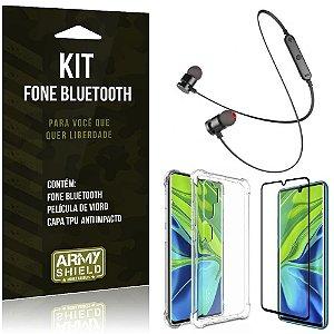 Kit Fone Bluetooth Sport 901 Mi Note 10 Fone + Capa Anti Impacto + Película Vidro - Armyshield