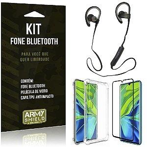 Kit Fone Bluetooth Sport 907 Mi Note 10 Fone + Capa Anti Impacto + Película Vidro - Armyshield