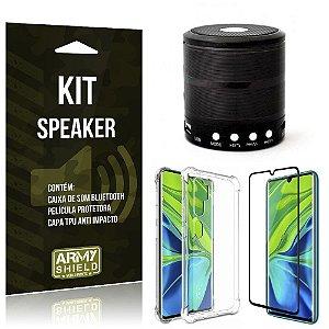 Kit Mini Speaker Mi Note 10 Caixa de Som Bluetooth + Capa Anti Impacto + Película - Armyshield