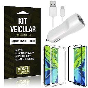 Kit Carregador Veicular Tipo C Mi Note 10 + Capa Anti Impacto + Película Vidro - Armyshield