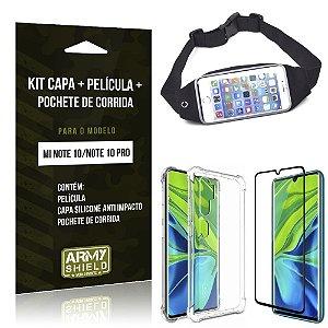 Kit Pochete Mi Note 10 Pochete + Capinha Anti Impacto + Película de Vidro - Armyshield