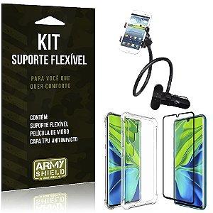 Kit Suporte Flexível Mi Note 10 Suporte + Capinha Anti Impacto + Película de Vidro - Armyshield