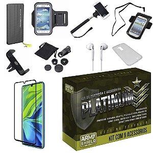 Kit Platinum Tipo C Mi Note 10 com 9 Acessórios - Armyshield