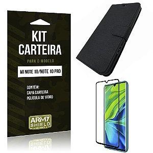 Kit Capinha Carteira Mi Note 10 Capinha Carteira + Película de Vidro - Armyshield