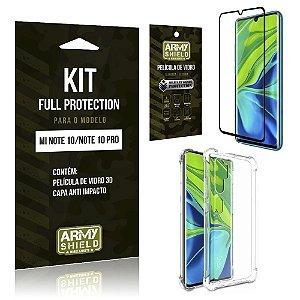 Kit Full Protection Mi Note 10 Película de Vidro 3D + Capa Anti Impacto - Armyshield
