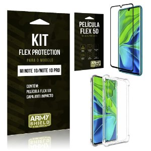 Kit Flex Protection Mi Note 10 Capa Anti Impacto + Película Flex 5D - Armyshield