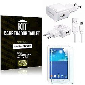 Kit Carregador Samsung Galaxy Tab 3 7.0' Lite T110 + Película de Vidro - Armyshield