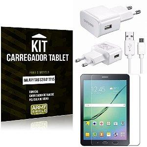 Kit Carregador Samsung Galaxy Tab S2 8.0' T715 + Película de Vidro - Armyshield