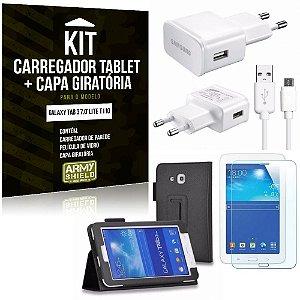Kit Carregador Samsung Galaxy Tab 3 7.0' Lite T110 + Capa Giratória + Película de Vidro - Armyshield