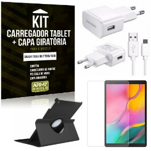 Kit Carregador Tipo C Galaxy Tab A 10.1' T515/T510 + Capa Giratória + Película de Vidro - Armyshield