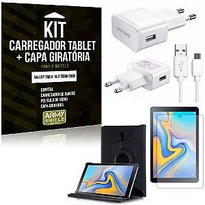 Kit Carregador Tipo C Galaxy Tab A 10.5' T590/T595 + Capa Giratória + Película de Vidro - Armyshield