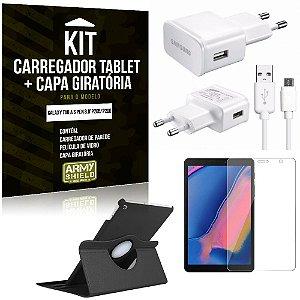 Kit Carregador Tipo C Galaxy Tab A S Pen 8.0' P205/P200 +Capa Giratória +Película Vidro - Armyshield