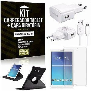 Kit Carregador Samsung Galaxy Tab E 9.6' T560/T561 + Capa Giratória + Película de Vidro - Armyshield