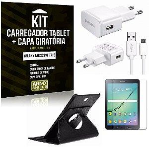 Kit Carregador Samsung Galaxy Tab S2 8.0' T715 + Capa Giratória + Película de Vidro - Armyshield