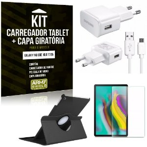Kit Carregador Tipo C Galaxy Tab S5e 10.5' T725 + Capa Giratória + Película de Vidro - Armyshield