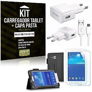 Kit Carregador Samsung Galaxy Tab 3 7.0' Lite T110 + Capa Pasta + Película de Vidro - Armyshield