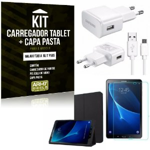 Kit Carregador Samsung Galaxy Tab A 10.1' P585 + Capa Pasta + Película de Vidro - Armyshield