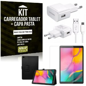 Kit Carregador Tipo C Galaxy Tab A 10.1' T515/T510 + Capa Pasta + Película de Vidro - Armyshield