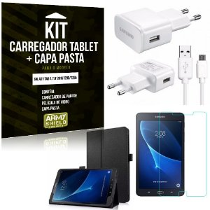 Kit Carregador Galaxy Tab A 7.0' 2016 T280/T285 + Capa Pasta + Película de Vidro - Armyshield