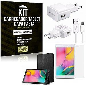 Kit Carregador Samsung Galaxy Tab A 8.0' T295/T290 + Capa Pasta + Película de Vidro - Armyshield