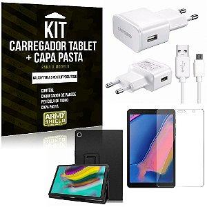 Kit Carregador Tipo C Galaxy Tab A S Pen 8.0' P205/P200 + Capa Pasta + Película Vidro - Armyshield