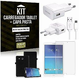 Kit Carregador Samsung Galaxy Tab E 9.6' T560/T561 + Capa Pasta + Película de Vidro - Armyshield