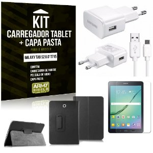 Kit Carregador Samsung Galaxy Tab S2 8.0' T715 + Capa Pasta + Película de Vidro - Armyshield