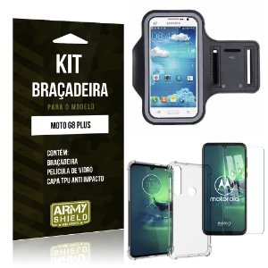 Kit Braçadeira Moto G8 Plus Braçadeira + Capinha Anti Impacto + Película de Vidro - Armyshield