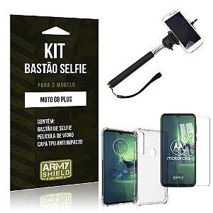 Kit Bastão de Selfie Moto G8 Plus Bastão + Capinha Anti Impacto + Película de Vidro - Armyshield
