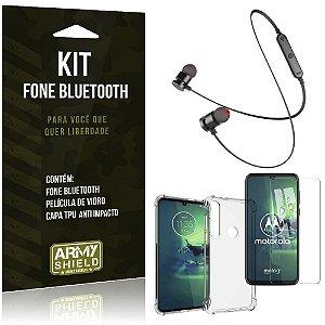 Kit Fone Bluetooth Sport 901 Moto G8 Plus Fone + Capa Anti Impacto + Película Vidro - Armyshield