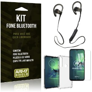 Kit Fone Bluetooth Sport 907 Moto G8 Plus Fone + Capa Anti Impacto + Película Vidro - Armyshield