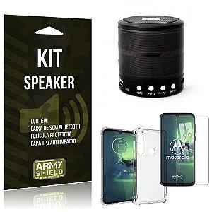 Kit Mini Speaker Moto G8 Plus Caixa de Som Bluetooth + Capa Anti Impacto + Película - Armyshield
