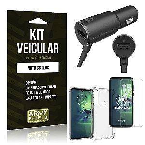 Kit Carregador Veicular Tipo C Moto G8 Plus + Capa Anti Impacto + Película Vidro - Armyshield