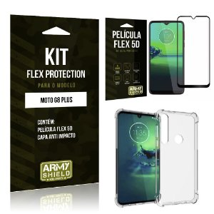 Kit Flex Protection Moto G8 Plus Capa Anti Impacto + Película Flex 5D - Armyshield