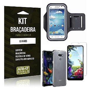 Kit Braçadeira LG K40s Braçadeira + Capinha Anti Impacto + Película de Vidro - Armyshield